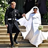 So how exactly should a duo go about recreating Meghan and Harry's iconic wedding day ensembles? You'll need a modest white dress (preferably one with a bateau neckline and long sleeves), lengthy veil, sparkly, Disney princess-worthy tiara, and white heels to look like Meghan, whereas anyone looking to dress like wedding day Harry should wear something that resembles a military uniform. Bonus points if the Meghan lookalike of your twosome carries a small bouquet of white flowers, and the Harry wannabe sensually bites their lip at any point during the Halloween shindig, just like the Duke of Sussex did on the altar.