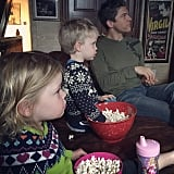 Neil Patrick Harris snapped a photo of husband David Burtka and their kids, Harper and Gideon, watching the Macy's Thanksgiving Day Parade on TV.