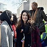 Amal Clooney Wearing Plaid Jacket