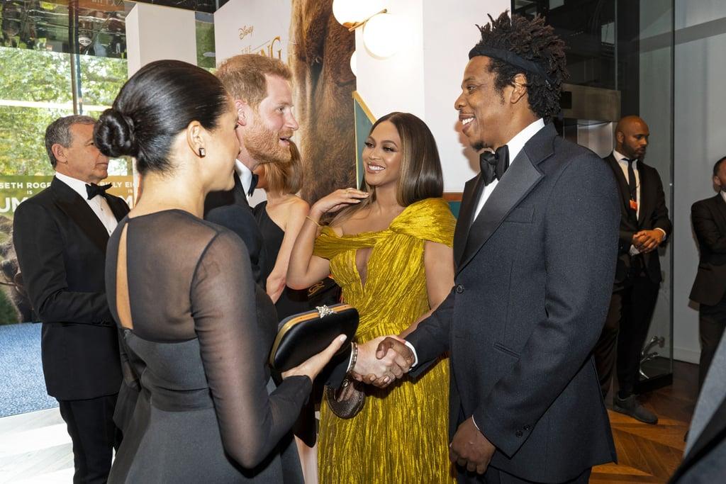 Beyoncé and Meghan Markle Meet at Lion King Premiere Video