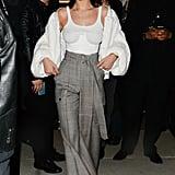 Bella Hadid Wearing White Fluffy Jacket