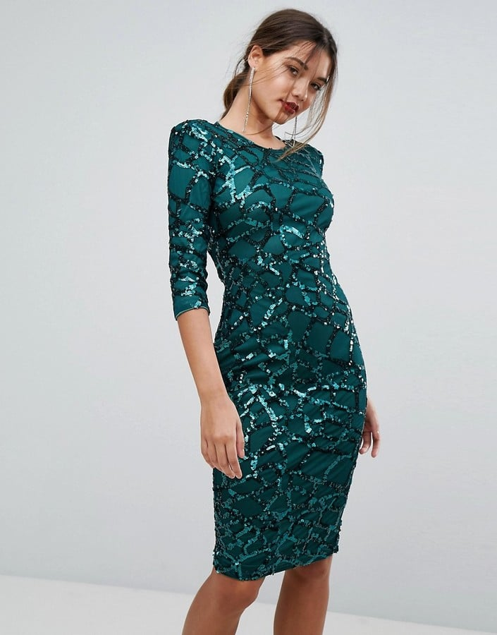 boohoo Sequin Embellished Midi Dress