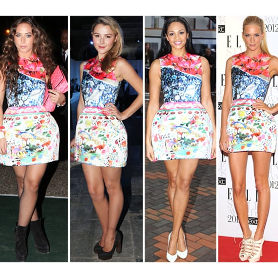 Alesha Dixon, Poppy Delevigne, Chloe Green in Mary Katrantzou for Topshop Collaboration