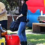 Sandra Bullock kept her smile bright under the shade of her pirate hat.