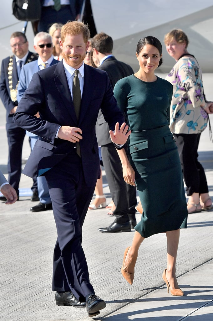 During her trip to Ireland in July 2018, Meghan also paid tribute to the country by wearing a green ensemble by Givenchy. She opted for a three-quarter-sleeved top with a matching midi skirt that featured pockets.