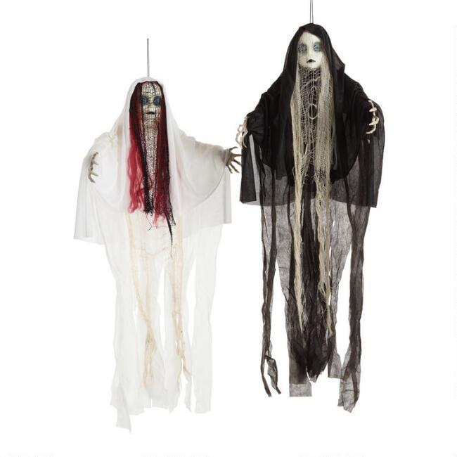 Ghost Girl Halloween Hanging Figures, Set Of 2