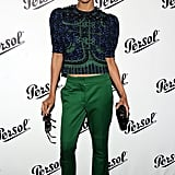 Zoe Saldana wore a two-piece Louis Vuitton outfit for the Persol Magnificent Obsessions event in NYC.