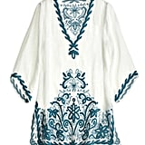 The bell sleeves and hand-embroidered turquoise blue detailing are reminiscent of exotic locales like Bali and Marrakech.  Calypso St. Barth Florita Embroidered Tunic ($295)