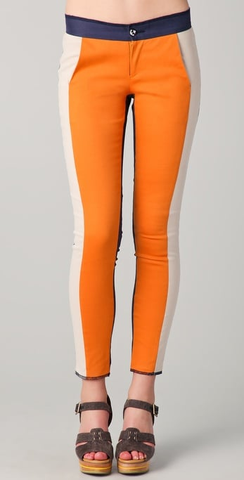 Jump on Spring's sporty trend with these orange colorblocked trousers.  Washborn Colorblock Skinny Pants ($95)