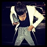 Chrissy showed off her sequined trousers during a night out with friends. Source: Instagram user chrissy_teigen