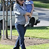 Jen carried Seraphina on her baby bump.