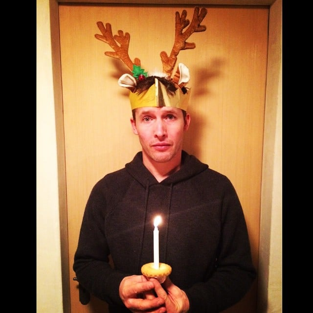 James Blunt celebrated his Christmas with a pair of antlers.