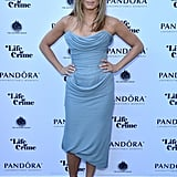Jennifer Aniston stunned in a strapless gray draped Vivienne Westwood Couture dress and nude pumps at the Life of Crime reception during the Toronto Film Festival.