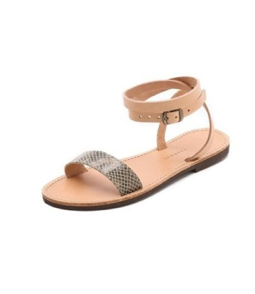 We love that these Isapera Ianthe ankle-wrap sandals ($90) have a wrap-up ankle strap and a touch of exotic print to add interest.