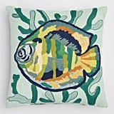 Embroidered Fish Indoor Outdoor Throw Pillow
