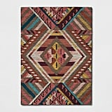 Pink/Red/Yellow Geometric Wool Tufted Area Rug