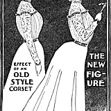 "This 1900 illustration shows the old Victorian corseted silhouette compared to the new Edwardian ""S-bend"" corseted silhouette that you may recognize on Lady Violet Crawley in Downton Abbey."
