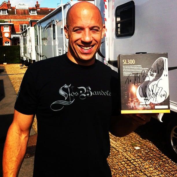 Vin Diesel showed off his Ludacris-approved headphones. Source: Instagram user itsludacris