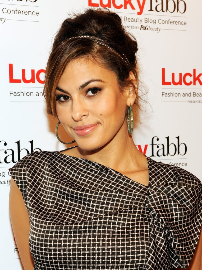 Eva Mendes was in New York this week for Lucky magazine's Fashion and Beauty Blog conference. We loved her updo accented with a leather headband.