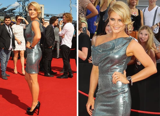 Pictures of Natalie Bassingthwaighte In Sexy Silver Dress on the Red Carpet at the 2011 ARIA Awards