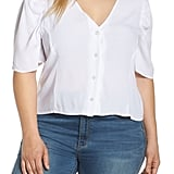 Leith Puff-Sleeve Button-Front Top