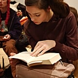 This model raced to finish her book at Benjamin Cho's Fall 2005 show.