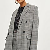 Topshop Checked Double Breasted Jacket