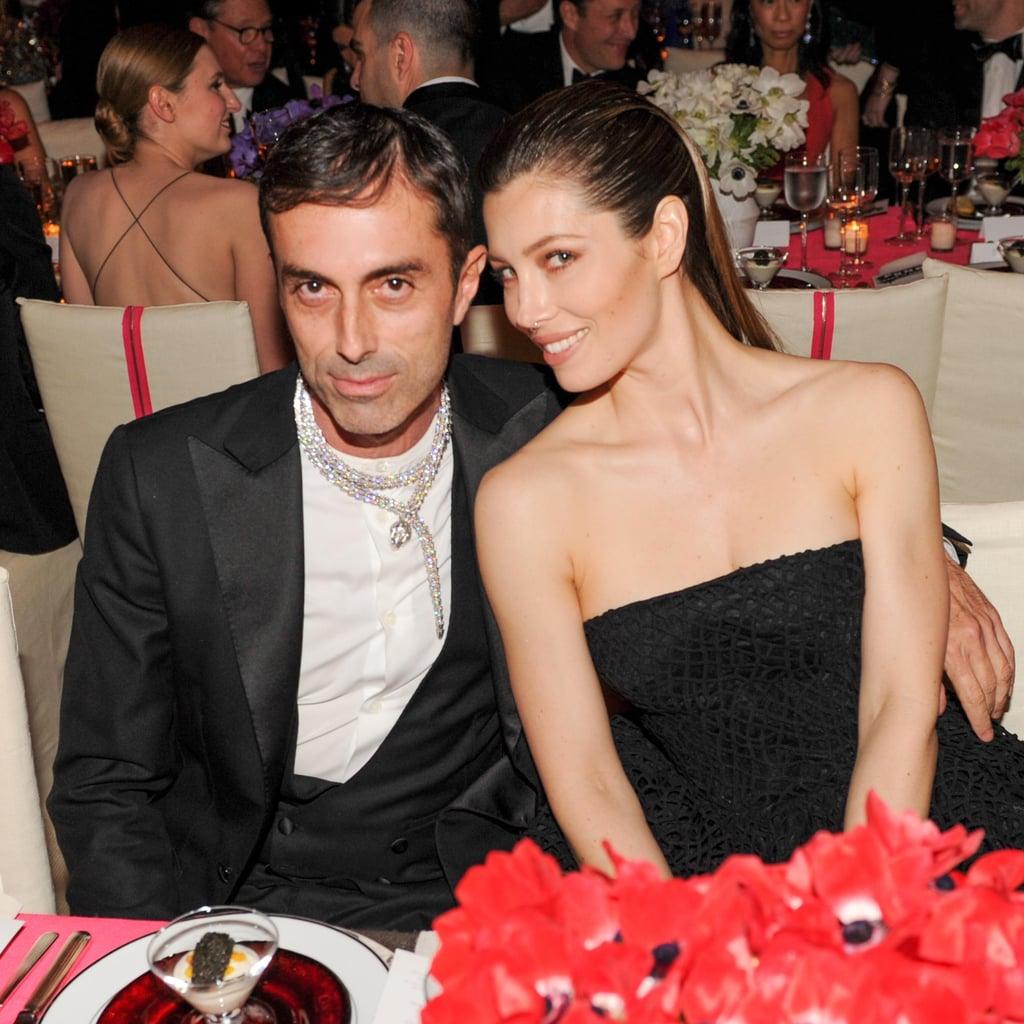 Jessica Biel snuggled up to designer Giambattista Valli inside the Met Gala. Source: Billy Farrell/BFANYC.com