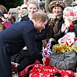 Prince Harry knelt to greet well-wishers outside of church in 2016.
