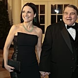 Julia Louis-Dreyfus and her father, William Louis-Dreyfus, arrived hand in hand.