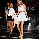 Mix-and-match neutrals stood out against Taylor's golden tan.