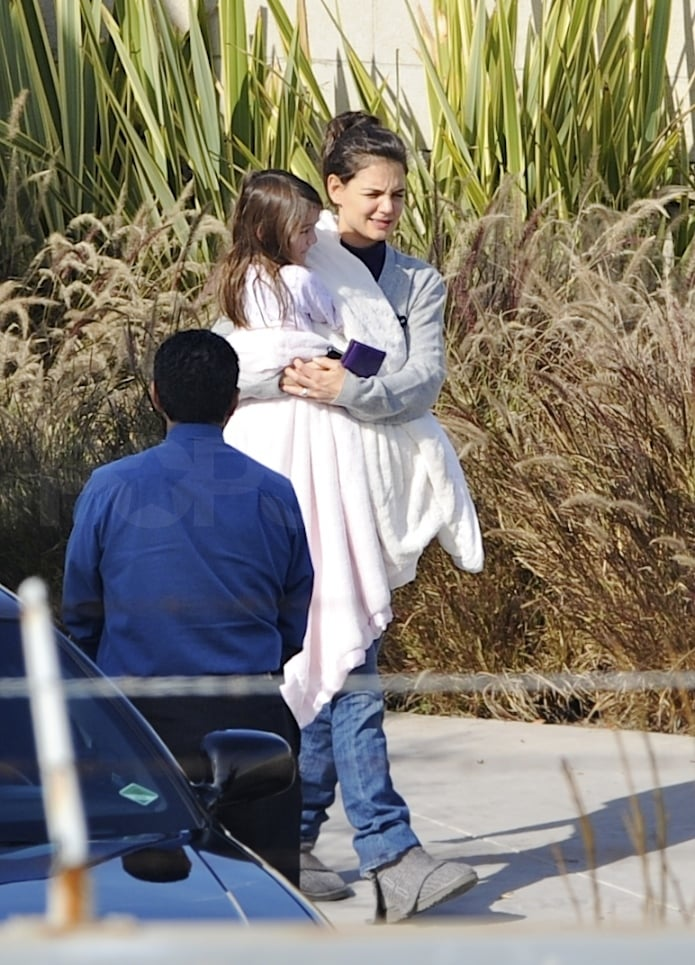 Katie Holmes carried her daughter, Suri Cruise, yesterday when they got off a private plane at LAX. The girls are back in California after a stint in Canada, where they visited with Suri's dad Tom as he continues to work on Mission Impossible 4: Ghost Protocol. Suri and Katie had time to explore the city, though, stepping out to shop and even enjoying a special tour of an aquarium. Katie kept the fun times going last night, when she left Suri home to have an adults-only night out at the Bouchon restaurant in Beverly Hills. The actress, who has been busy shooting Jack and Jill with Adam Sandler, has another project coming out that may be of more interest to her 4-year-old: Katie's lent her voice to Disney Junior's show called A Poem Is . . .   Check out a preview of their collaboration!