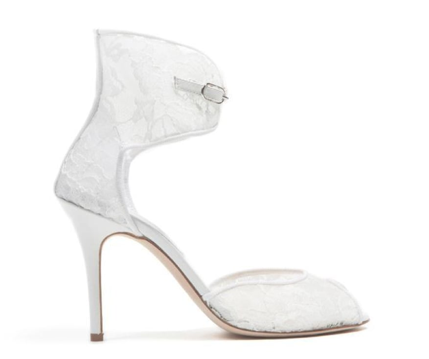 Monique Lhuillier White Lace Over Mesh Sandal ($795)