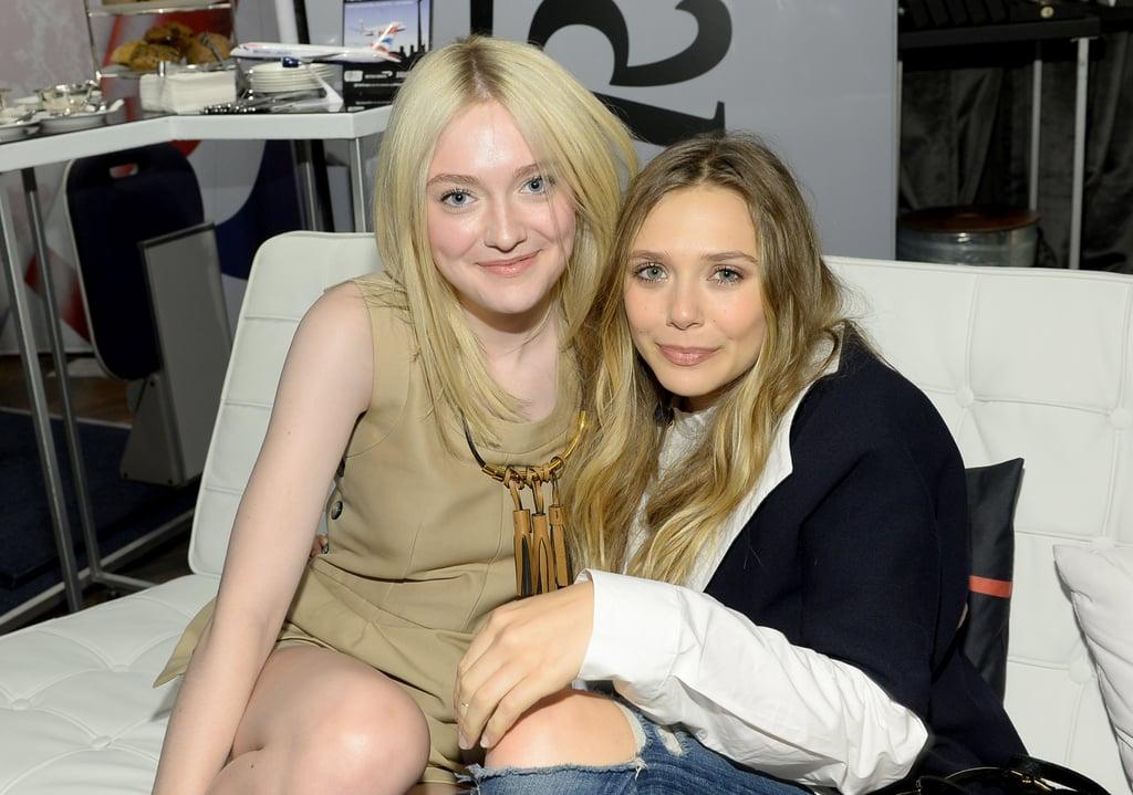 Stylish pals Dakota Fanning and Elizabeth Olsen hung out at the Holt Renfrew lounge.