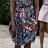 When Michelle Mixed Prints With a Patterned Sundress and Spotted Shoes