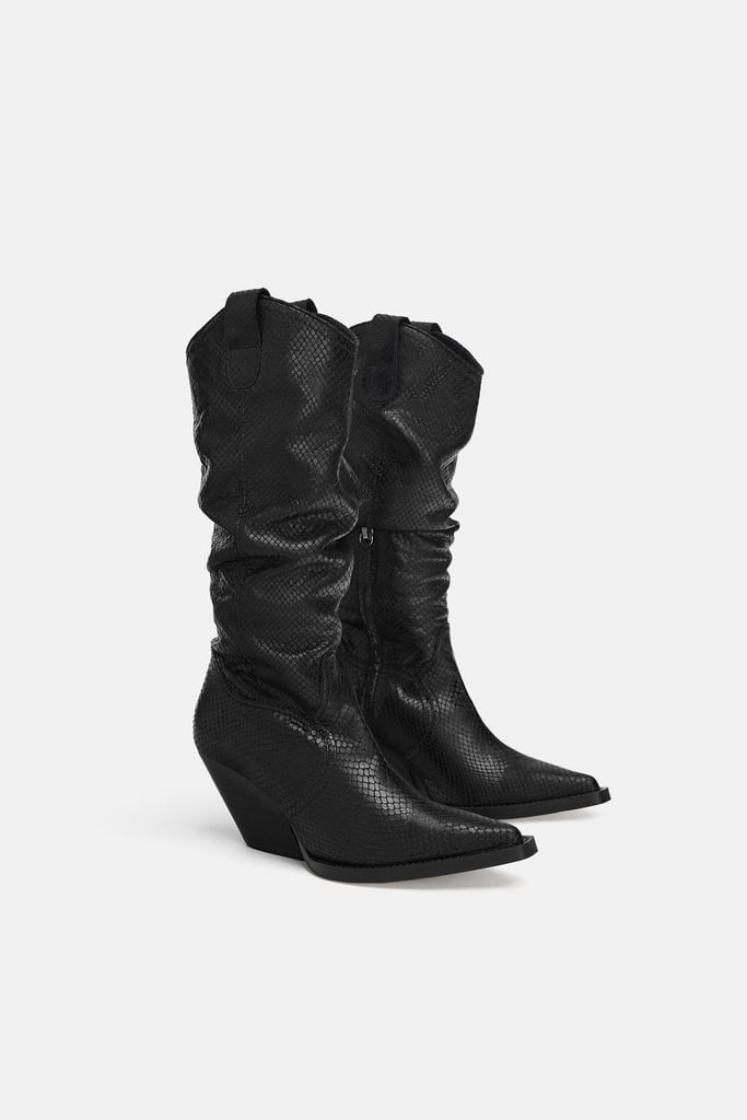 Zara Animal Print Leather Boots