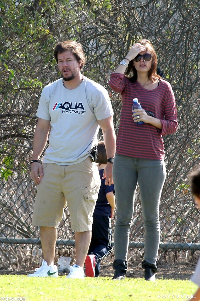 Mark Wahlberg and Rhea Durham watched the game.