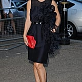Myleene looked chic in a navy blue knee length dress.