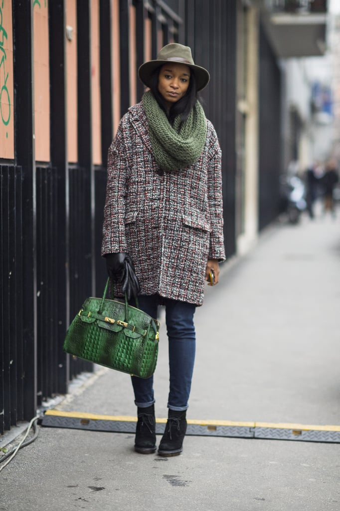 Green accents give this Winter look a chic color story. Source: Adam Katz Sinding