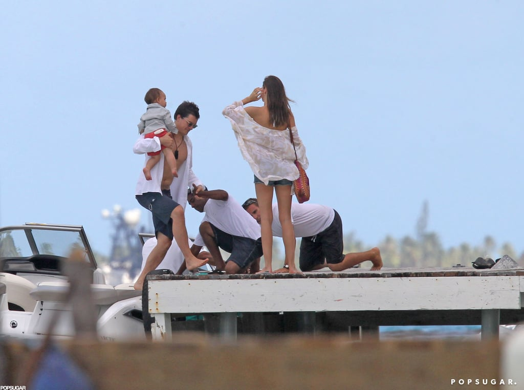 Miranda Kerr spent time with husband Orlando Bloom and baby Flynn in Bora Bora.