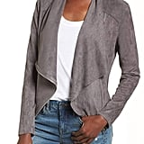 Blank NYC Drape Front Faux Suede Jacket