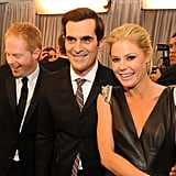 Jesse Tyler Ferguson, Ty Burrell, and Julie Bowen showed off their winning statue backstage.
