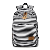 TIBES Girls School Backpack Stripe Canvas Backpack