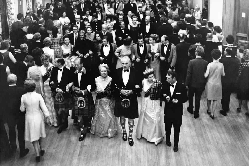 Prince Philip, the queen mother, and the queen at the annual Ghillies Ball