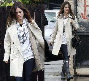 Photo of Rachel Bilson in Trench Coat and Hunter Rain Boots in LA