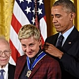 At the Presidential Medal of Freedom Ceremony in November, Ellen DeGeneres couldn't help but tear up as Barack placed the medal around her neck.