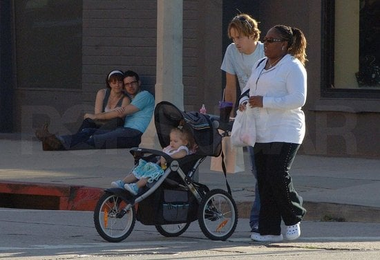 Daddy Larry Birkhead was taking care of baby business at Naked Baby with his daughter Danielynn Birkhead and a nanny.