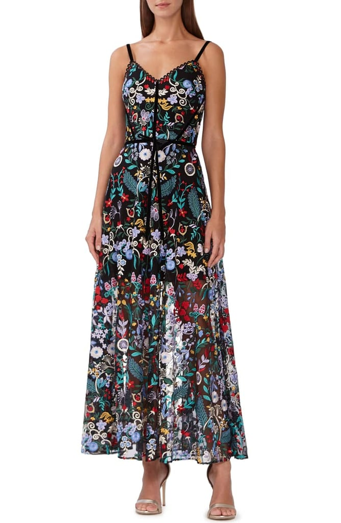 1a1b2c5c4dac ML Monique Lhuilier Floral Embroidered Mesh Dress