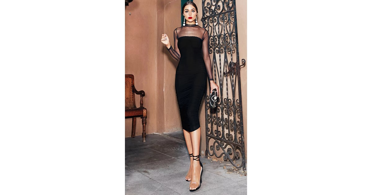 d63efe07d2 Black Dobby Mesh Midi Dress