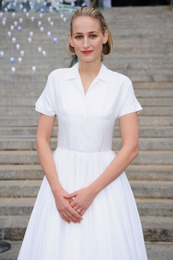 Leelee Sobieski looked chic in a white Jil Sander dress at the Vanity Fair Party at the 2012 Tribeca Film Festival.
